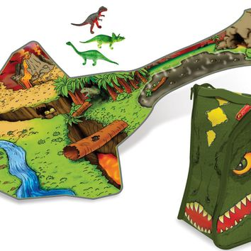 Dinosaur Carrier Backpack & Playmat A1289X7-3DN with Large Dinosaur and 3 Mini Dinosaurs