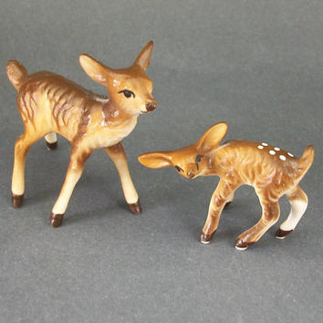Vintage Porcelain Deer Figurines, Doe and Spotted Fawn Miniatures, Animal Figurines
