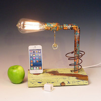 iPhone, iPod dock AND table lamp. iPhone 3, 4, 5. Recycled wood. Copper. Steam punk. Industrial. (343)