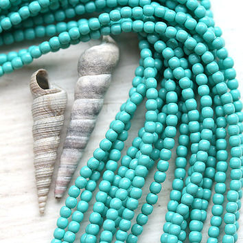 Czech pearl beads, Full Strand - Turquoise - faux pearls, tiny spacers, round, druk - 2mm - 150Pc - 1530