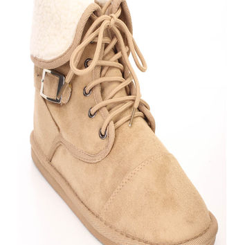 Camel Lace Up Shearing Cuffed Ankle Booties Faux Suede