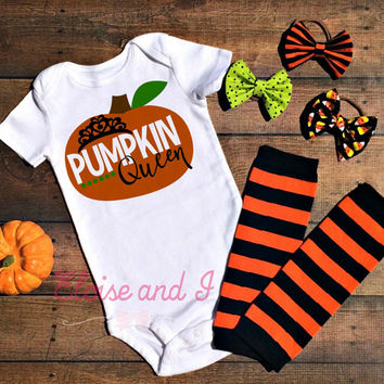halloween baby outfit, baby girl pumpkin queen, halloween baby shower gift, fall baby clothes, halloween shirt, toddler halloween costume