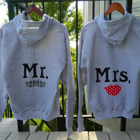 Mr and Mrs honeymoon gray hoodies with mustache and red lips applique HIS and HERS original couples wedding gift or shower gift