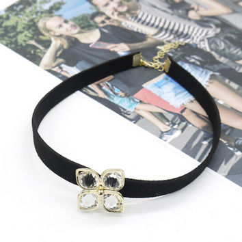 Womens Retro Blace Leather Crystal Choker Adjustable Necklace + Gift Box