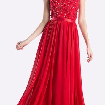 Sheer Neckline Floral Applique Sequin Evening Dress Red