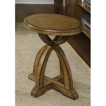 Liberty Furniture Town & Country Round Chair Side Table in Distressed Sandstone w White