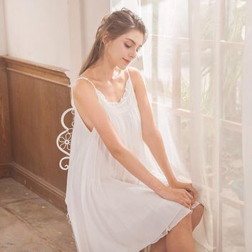 CFYH Lady Cotton Sexy Loose Nightgown Female Nightshirt Nightdress Casual Night Dress Nighty Homewear Clothing Women Chemise