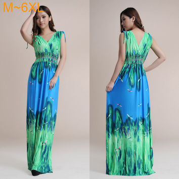 sexy deep V-neck Dragonfly print dress 2014 summer floor length long Maxi dresses Ice silk beach maxi dress M~6XL