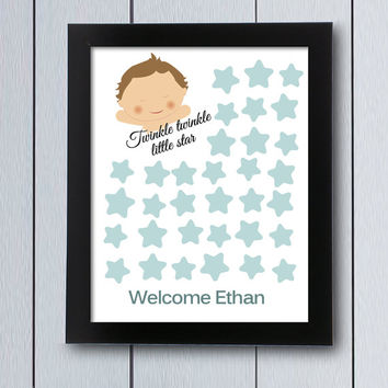 Baby Shower Guest Book birthday twinkle little star / printable pdf / signature  Babyshower guestbook ideas keepsake children baby's first