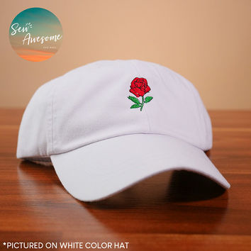 Cute Rose Dad Hat, Floral Embroidered Baseball Cap, Mexican Dad Cap, Girlfriend Gift, Boyfriend Gift