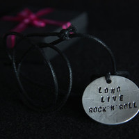 Long Live Rock'n'Roll, Handmade Adjustable necklace with Aluminium Medallion