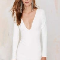 Nasty Gal Blowing Up Bodycon Dress - White