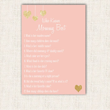 Who Knows Mommy Best Shower Game Pink and Gold heart Baby Shower Printable Instant Download Digital Girl Baby Shower Games