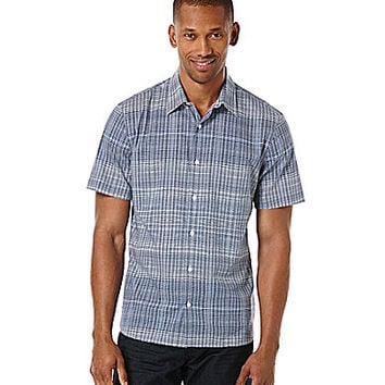 Perry Ellis Short-Sleeve Wavy Stripe Woven Shirt - Coastal