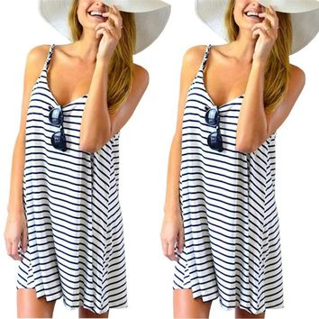 Top Sell Summer Women Sleeveless Striped Loose Mini Dress Beach Party Casual Sundress