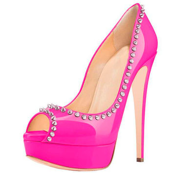 Posh Girl Hot Pink Amina Studded Platform Pumps