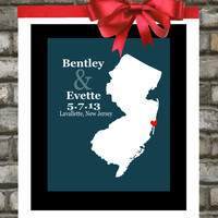 Gift for Newlyweds : Personalized Wedding Gift - Custom Wedding State Map Print - 8x10 / New Jersey - Any State Country - Engagement Gift