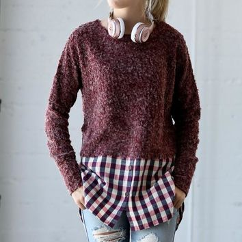 Long Sleeve Plaid Contrast Brush Top