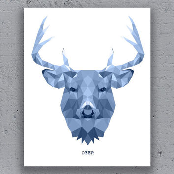 Deer Stag Print Typography Printable Poster Geometric Blue Print Wildlife Polygon Animal Art Retro Art Print Instant Download Digital Print