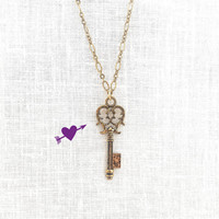 Skeleton Key Necklace, Gold Old Key, Victorian Jewelry, Layering Gift for Coworker, Teenage Girls