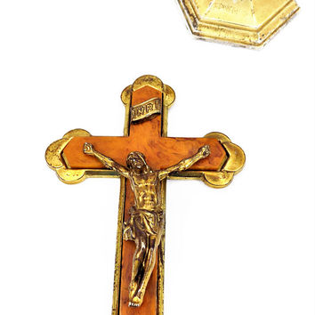 Metal and Glass Crucifix, Brass Plate, Brown Glass, Hand Held, Wall Hanging, Vintage Religious Icon