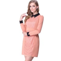 Casual Doll Collar Front Lace Embroidered Long Sleeve Khaki Mini Dress