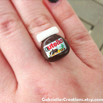 Nutella Inspired Ring - Mini - Chocolate - Kawaii Miniature Ring - Miniature Jewelry - Food Miniature - Sweet Ring - Polymer Clay Ring
