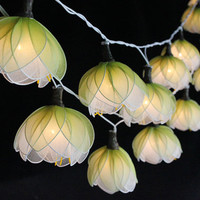 35 Bulbs White Lotus Flower String Lights for Home Decoration,Wedding,Party,Bedroom,Patio and Decoration