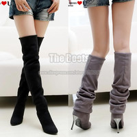 Black Brown Grey Suede Long Winter Over The Knee Thigh Metal Stiletto High Heel Boots For Women Plus Size