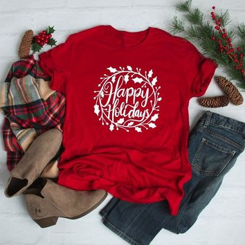 Happy Holidays Christmas Shirt Red Unisex Christmas Party style graphic celebrate funny grunge aesthetic girl casual tee t-shirt