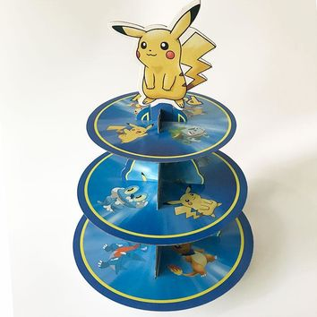Go Pikachu 3tier Cupcakes Stand Baby Shower Supplies Kids Birthday Party Decoration Cake Holder Paper Candy Bar FavorsKawaii Pokemon go  AT_89_9