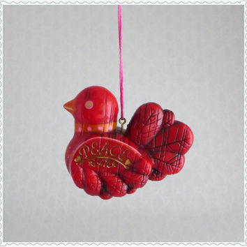 Peace Bird Ornament, Hallmark 1976, Christmas Tree Decoration, Red Orange Pink, Vintage 1970s, Retro Holiday Decor