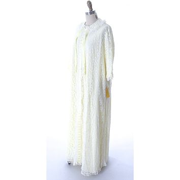 Odette Barsa VTG Nylon Lingerie Nightgown Robe Set Lace Peignoir Negligee Yellow L NWT 1960s