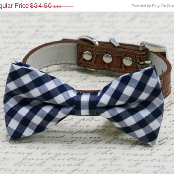 Navy and brown dog bow tie - Blue Brown Wedding accessory, some thing blue, Navy wedding, Brown dog collar, dog lovers, plaid navy bow tie