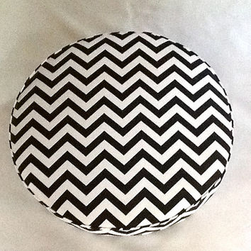 24 Inch Floor Pillow Cushion In Black and White Chevron Zig Zag Fabric - Sturdy Foam Insert - Ships Within 3 Days