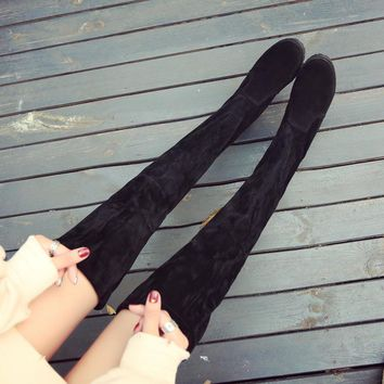 ORATEE2017 autumn and winter knee boots flat bottom stovepipe elastic boots black tie Gaotong women long boots
