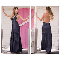 Mapale 4991 Chambray Long Dress Color Blue