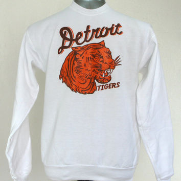 Detroit Tigers // vintage 1935 penant inspired design // white crew neck sweatshirt // free domestic shipping