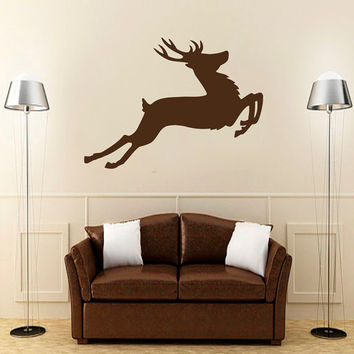 Wall Decals  Animals Decal Deer Antler Horns Fauna Safari Hunting Jump Art Mural Bedroom Living Room Kitchen Vinyl Sticker Home Decor ML113