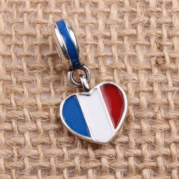 France Heart Flag Dangle Charms Original 100% Authentic 925 Sterling Silver Beads fit for Pandora Charms bracelets