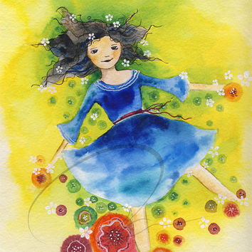 Sun Child - art print cute little girls nursery room gift ideas field cloud sky summer spring flowers watercolor painting Oladesign 8x10