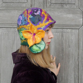 Felted purple cloche hat, retro style hat with yellow flower and green leaves. OOAK