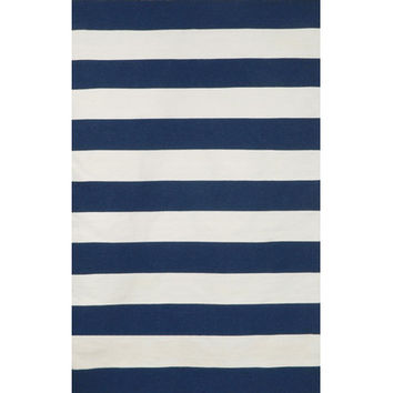 Liora Manne Sorrento Indoor/Outdoor Rugby Stripe Navy Indoor/Outdoor Area Rug & Reviews | Wayfair