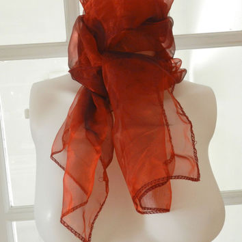 Sheer Chiffon Scarf in Organza /Opalescent  Red Vintage Rockabilly, Pin Up, 50s / 60s Long Scarf