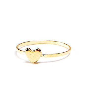 Gold Thin Heart Ring