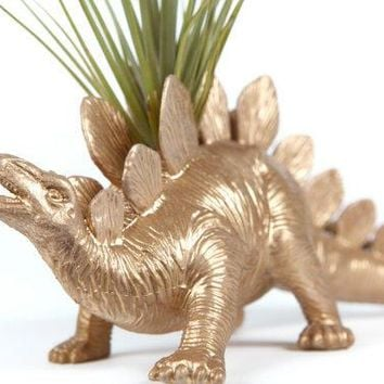 Dinosaur Planter Gold Office Home Desk Decor With Air Plant