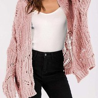 Pink Button Placket Front Long Sleeve Chic Women Knit Cardigan