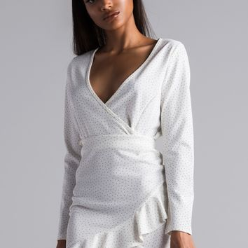 AKIRA Deep V Faux Wrap Long Sleeve Crop Top in White