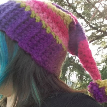 striped winter crochet hat hippy pixie style