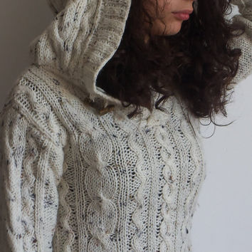 Handknitted Cable Merino Wool Offwhite Hoodie Sweater